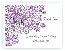 100 Custom Personalized Purple Floral Wedding Bridal Thank You Cards