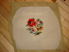"Vintage WORKED NEEDLEPOINT PIECE Floral on Cream 17""x18"" #3"