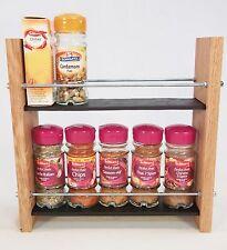Oak Slate Design Spice / Herb Rack 2 Tier, 10 Jar - Modern Contemporary Style