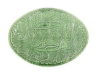 Vintage Majolica Green Oval Leaf Platter Bordallo Pinheiro Made In Portugal