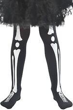 Girls Black White Skeleton Bones Halloween Fancy Dress Costume Outfit Tights