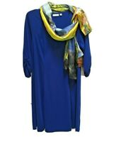 Susan Graver Womens size 1X Blue Knit 3/4 Ruched Sleeve Dress Scoop Neck + Scarf