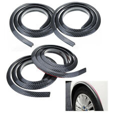 4X Auto Universal Rubber Wheel Eyebrow Trim Strip Carbon Fiber Bumper Strip 1.5m
