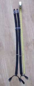 Trouser Braces CAS Germany Black Woven Braces Suspenders Leather