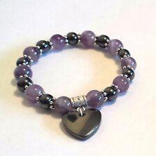 Hematite and amethyst beaded gemstone healing large heart bracelet elasticated