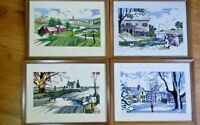 Cross-stitch completed 4 seasons Vintage Farm Water Mill Fishing Winter Fall