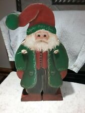 """12"""" Handmade Hand painted Wooden Santa / Father Christmas carrying firewood"""