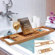 Bathtub Rack Bamboo Shelf Bathroom Shower Tub Book Reading Tray Holder US