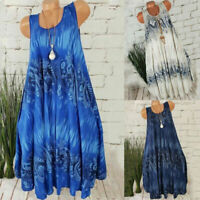 Womens Boho Sleeveless Midi Dress Ladies Summer Beach Loose  Sundress Long Top
