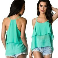 Coqueta Women'sFlare Sleeveless STRAP Ruffle chiffon Shirt Blouse Top tiffany