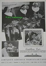 PUBLICITE CGT CIE GENERALE TRANSATLANTIQUE FRENCH LINE PAQUEBOT FRANCE DE 1957