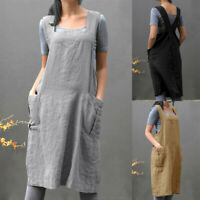 Women Vintage Cotton Cross Back Casual Baggy Pinafore Midi Dress With Pockets