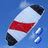 RED&WHITE 1.4m  Power Dual Line Stunt Parafoil Parachute Kite Sports Surfing