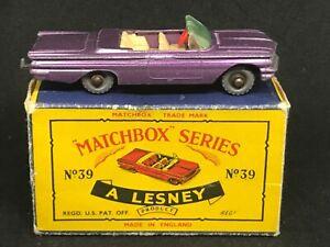 Matchbox Lesney 39 B1 Pontiac Convertible (Purple w SPW) & *HTF Type C Box