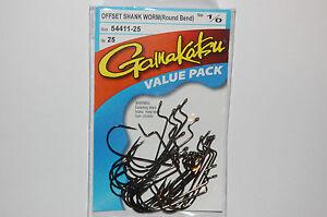 gamakatsu 1/0 offset shank worm round bend hook 54411-25 value pack