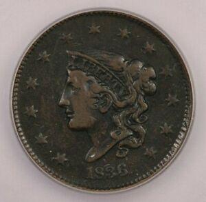 1836 Coronet Head Large Cent ICG VF30