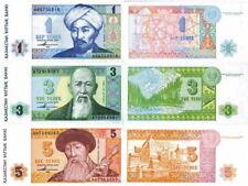 KAZAKISTAN - Kazakhstan Lotto Lot 3 banconote 1/3/5 Tenge 1993 FDS - UNC