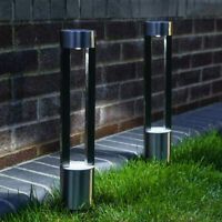 2PC Solar Power Outdoor Stainless Steel Bollard Stake Path Light | Garden Decor
