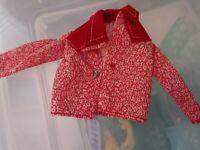 Vintage Red Barbie Doll Clothes 1970s Cowboy Shirt w/Corduroy Lapel COOL