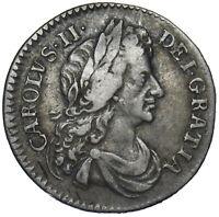 1683 SIXPENCE - CHARLES II BRITISH SILVER COIN - NICE