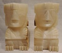 2 Vintage Carved Aztec Mayan Tiki Stone Bookends Onyx Marble STATUE SCULPTURES
