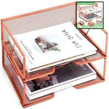 Desk File Organizer Letter Tray 2 Tier Stackable Paper For Women ROSE GOLD
