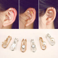 1Pair Women Crystal Ear Clip On Cuff Wrap Non Piercing Earring Cartilage Jewelry