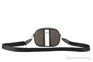 Michael Kors Jet Set Travel Small Signature PVC Striped Oval Crossbody Handbag