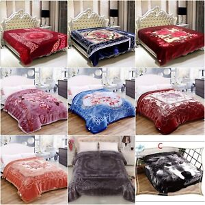 Heavy Blanket Florals Animal Skin Plain 2 PLY Bed Throw Thick Soft Warm Thermal