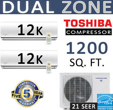 24000 BTU : 21 SEER Dual Zone Ductless Mini Split Air Conditioner - 2 x 12000