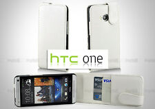 FLIP WHITE Premium Leather Wallet Cards Holders Case Cover For HTC ONE M7 810e