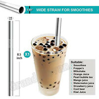 5X Reusable Stainless Steel Drinking Straws Big 1.2cm Wide Straws For Smoothies