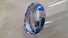 Vintage Bracelet Bangle leopard animal print white blue fabric covered RETRO
