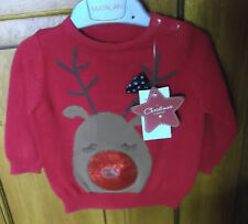 RED BABYS MUSICAL CHRISTMAS REINDEER  JUMPER AGE 3/6 MONTHS new
