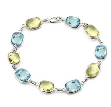 14K White Gold Bracelet With Cushion Cut Lemon And Blue Topaz 7.25 Inches