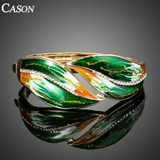 Green Oil Painting Austrian Crystal Gold Plated Statement Cuff Bracelet Bangle