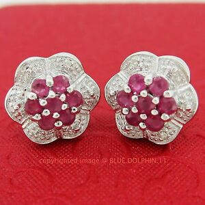 Genuine Natural Diamond Ruby Silver Flower Halo Stud Earrings White Gold Finish
