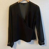 Women's Ralph Lauren Black Label 100% Silk Long Sleeve Sheer Black Blouse Size 4