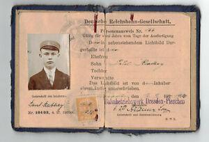 Id Card Deutsche Reichsbahn Gesellschaft 1930 Bahnbetrieb Dresden Pieschen Brand