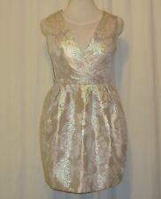 BNWT:GORGEOUS ASOS SILVER BROCADE FIT AND FLARE DRESS UK 10 US 6 AUS 10/12