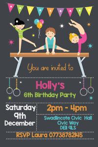Personalised Gymnastics Gym Birthday Party Invites inc envelopes GYM4