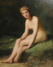 """perfect oil painting handpainted on canvas """"Female nude by pond""""@NO7723"""