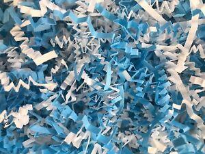Baby Boy Blend Blue White Mix Shower Crinkle Cut Paper Shred Basket Grass Filler
