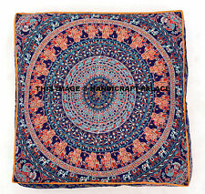 Indian Square Mandala Pillow Case Floor Cushion Cover Pouf Sham Pet Dog Cat Bed