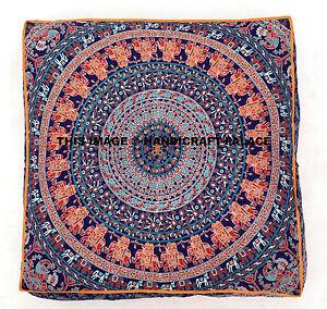 Indian Square Mandala Pillow Case Floor Cushion Cover Pouf Sham Pet Dog Cat Bed