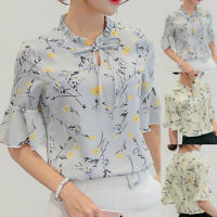 Women Summer T-Shirt Work Office Flare Sleeve Bow Tie Floral Chiffon Top Blouse