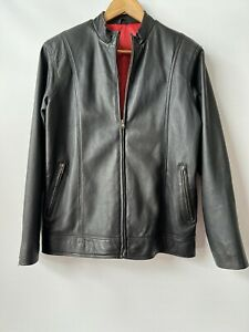 Dormeuil England, Black Leather Jacket with Red Lining, Mens Size Medium
