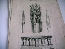 gravure XIXe MOYEN AGE MONUMENTAL ARCHEOLOGIE détails tour st jacques boucherie