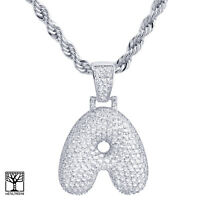 """Iced Custom Bubble Letter A Initial Silver Plated Pendant 24"""" Chain Necklace"""