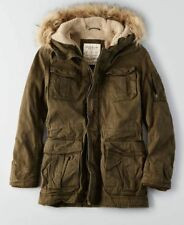 American Eagle AE Men Utility Military Sherpa Lined Fur Cotton Parka Coat Jacket